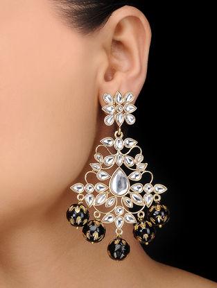 Black Gold Tone Meenakari Kundan Inspired Earrings