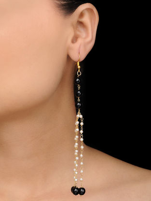 Black Gold Tone Onyx and Pearl Earrings