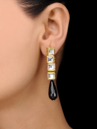 Black Gold Tone Kundan Inspired Stone Earrings