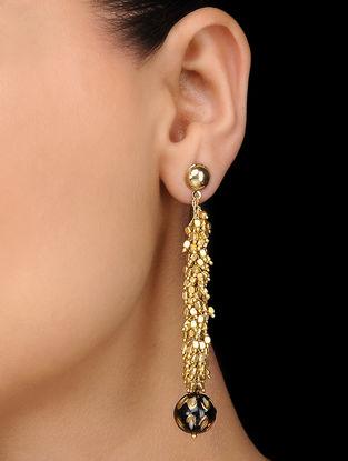 Black Gold Tone Meenakari Earrings
