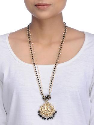 Black Gold Tone Onyx Kundan Inspired Pendant Necklace