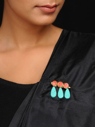 Red-Turquoise Handcrafted Brooch