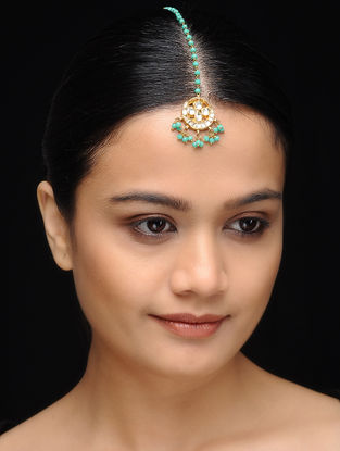 Feroza Gold Tone Kundan Inspired Turquoise Jade Mang Tikka