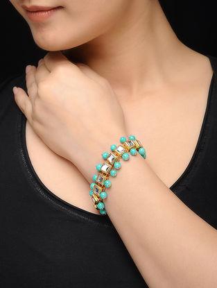 Feroza Gold Tone Kundan Inspired Turquoise Bracelet