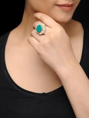 Feroza Gold Tone Turquoise Pearl Adjustable Ring