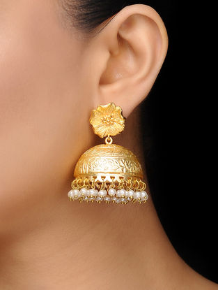 Kora Gold Frosted Floral Jhumkis