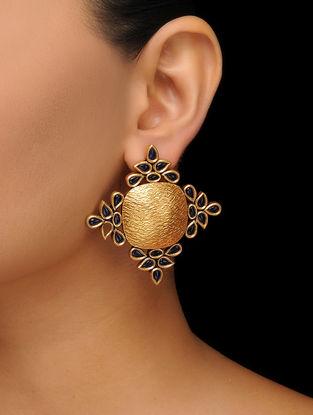 Blue Gold Tone Stud Earrings