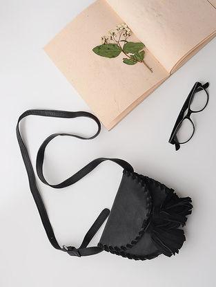 Black Leather Sling Bag with Tassels