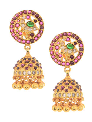 Spinel Ruby Gold-plated Silver Jhumkis with Pearls