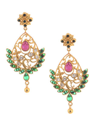 Spinel Ruby Gold-plated Silver Earrings