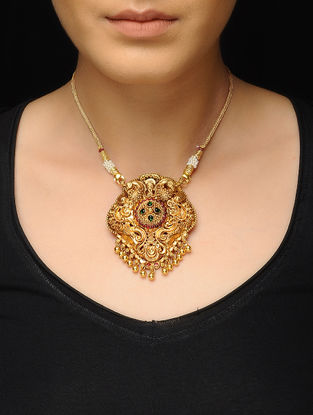 Spinel Ruby Gold-plated Silver Necklace with Peacock Motif