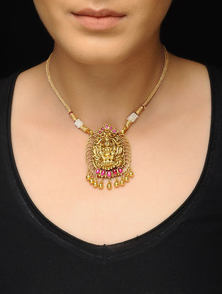 Spinel Ruby Gold-plated Silver Necklace with Deity Motif