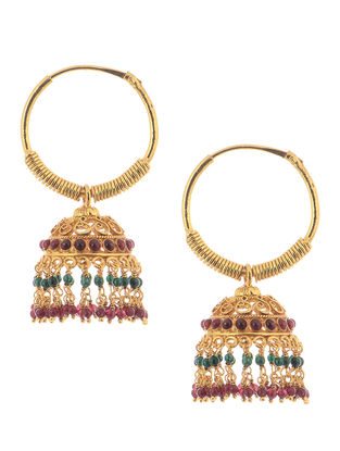 Spinel Ruby Gold-plated Silver Jhumkis