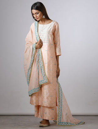 Pink Block-printed Chanderi Dupatta with Gota Work