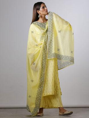 Yellow Block-printed Chanderi Dupatta with Gota Work
