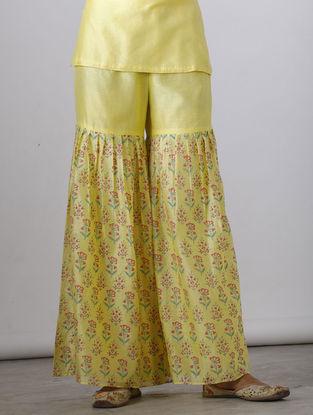 Yellow Block-printed Chanderi Sharara