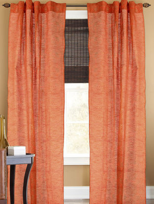 Orange-Golden Floral Curtain - 105in x 44in