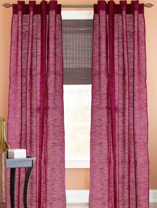 Fuschia-Golden Floral Curtain - 105in x 44in