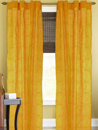Yellow-Golden Floral Curtain - 105in x 44in