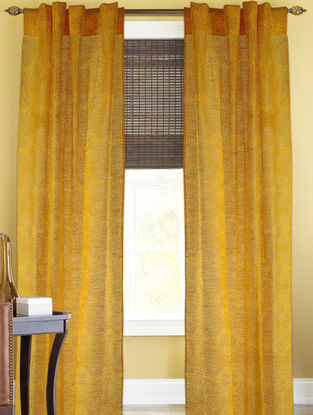 Yellow-Golden Floral Curtain - 82in x 43in
