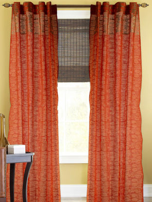 Orange-Golden Lotus Boota Curtain - 105in x 44in