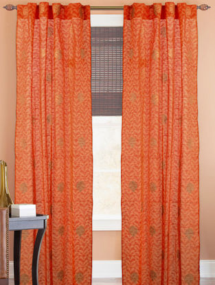Orange-Golden Tree Boota Curtain - 82in x 43in