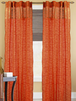 Orange-Golden Lotus Boota Curtain - 82in x 43in