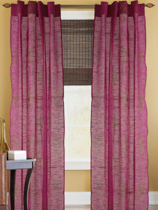 Fuschia-Golden Dahlia Curtain - 82in x 43in