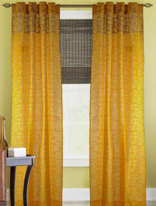 Yellow-Golden Louts Curtain - 82in x 43in
