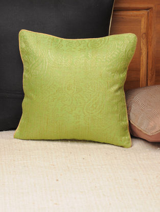 Lime Cotton Jacquard Paisley Cushion Cover 11.5in X 11.5in