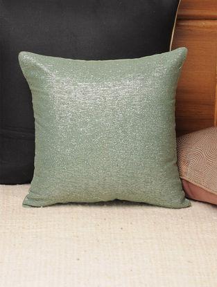Green Jute Lurex Silver Cushion Cover 11.7in X 11.7in