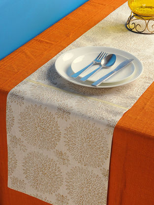 Ivory-Golden Dahlia Table Runner 72in x 13in