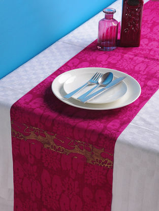 Magenta-Golden Lotus Table Runner 72in x 13in