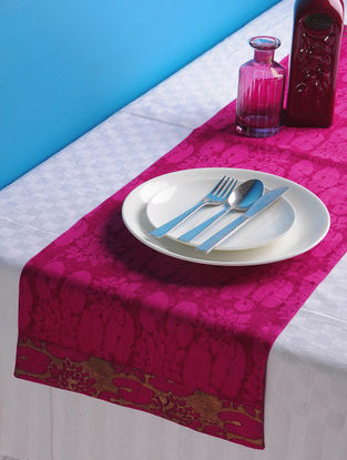 Magenta-Golden Lotus Table Runner 45in x 13in