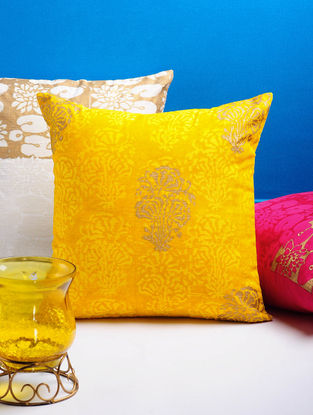 Yellow-Golden Floral Cushion Cover 16in x 16in