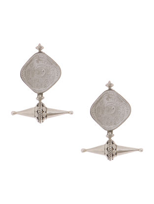 Classic Silver Earrings with Coin Design