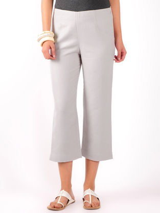 Grey Cotton-Linen Crop Pants