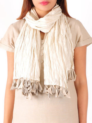 Beige-Grey Anchor Stitch Detailed Cotton Stole