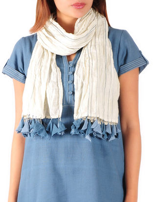 Beige-Steel Blue Anchor Stitch Detailed Cotton Stole