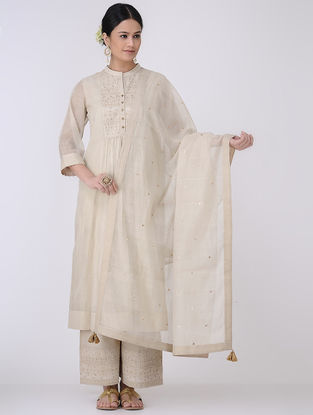 Beige-Golden Sequin Embroidered Chanderi Dupatta with Zari Tassels