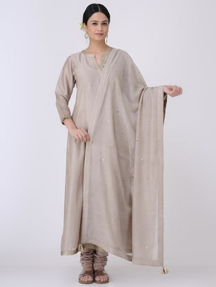 Taupe-Golden Sequin Embroidered Chanderi Dupatta with Zari Tassels
