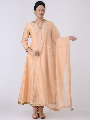 Peach-Golden Sequin Embroidered Chanderi Dupatta with Zari Tassels