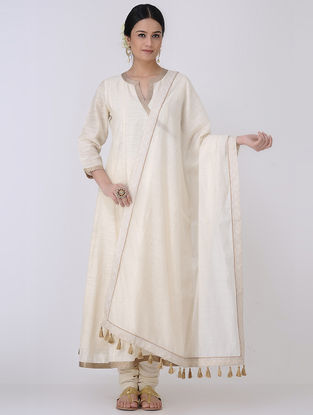 Ivory-Golden Mukaish Embroidered Chanderi Dupatta with Zari Tassels