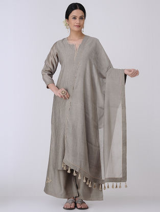 Grey-Golden Mukaish Embroidered Chanderi Dupatta with Zari Tassels