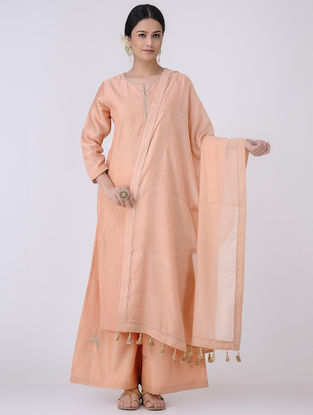 Peach-Golden Mukaish Embroidered Chanderi Dupatta with Zari Tassels
