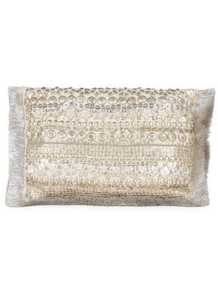 Silver Metal Sequin Embellished Chanderi Clutch with Zari