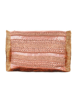 Copper Metal Sequin Embellished Chanderi Clutch with Zari