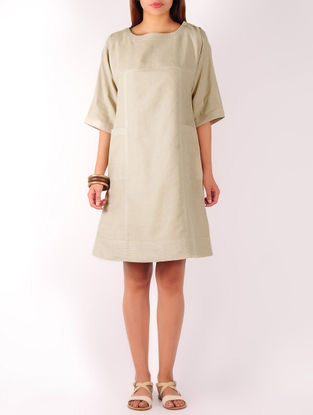 Beige Stitch Detailed Cotton-Linen Shift Dress