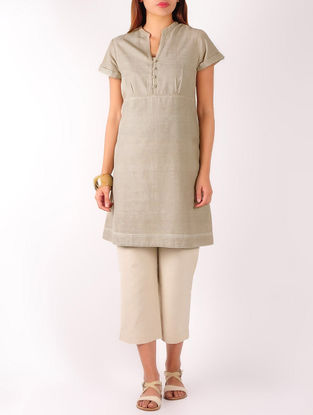 Beige Stitch Detailed Khadi Tunic