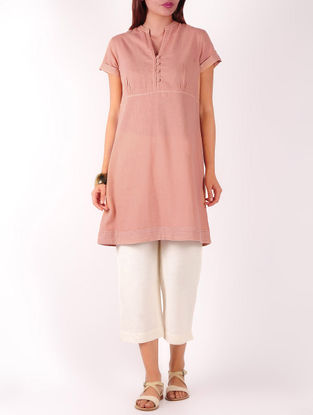 Dusty Pink Stitch Detailed Khadi Tunic